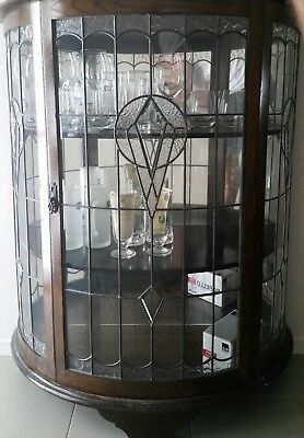 Antique Half Circle Display Cabinet With Lead light