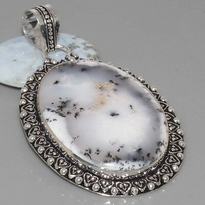 """I2137 ANTIQUE STYLE HUGE Dendritic Opal  925 Silver Overlay Pendant 2.6"""" Jewelry"""