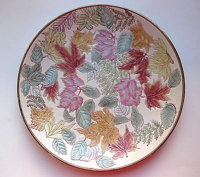 Vtg. Signed/ Numbered Chinese H-Painted Enameled Porcelain Leaf Decorative Plate