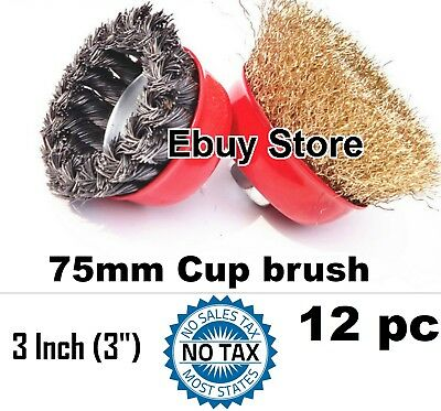 """12pc  3"""" x 5/8"""" Arbor FINE Crimp & Knot Wire Cup Brush Twist - Angle Grinders"""