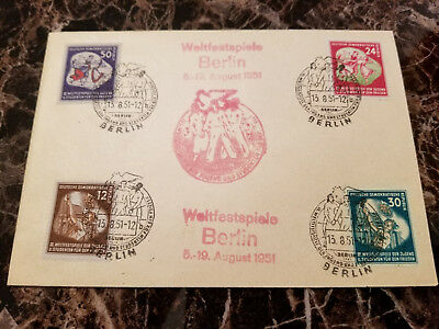 1951 Berlin East Germany DDR Cover Third World Youth Cancel Stamps # 85-88