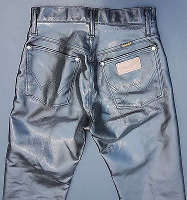 """Wrangler** Black Pleather Jeans**glossy and shiny** Vintage measures 26"""" waist"""