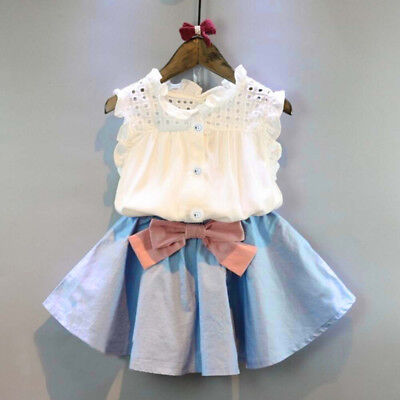Toddler Kids Baby Girls Outfit Clothes Vest Tops T-shirt+Bowknot Short Skirt Set