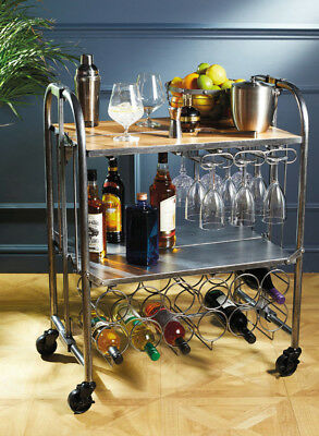 BarCraft Industrial Look Carbon Steel Home Bar Drinks & Cocktail Serving Trolley