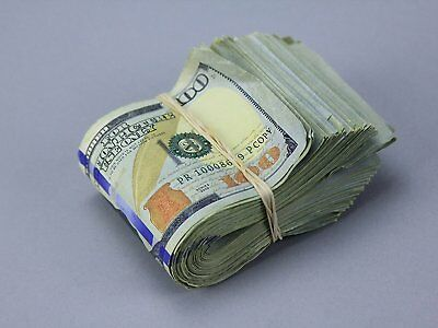 PROP MONEY Real Looking New Style Copy $100s - AGED BLANK FILLER FAT FOLD Total