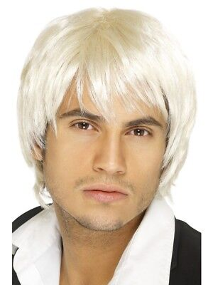 SALE! Adult Boy Band Short Blonde Wig Mens Fancy Dress Costume Party Accessory