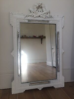 Antique French Louis XV Crested Painted Mirror - Original Glass
