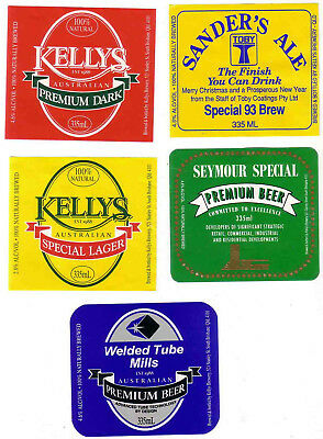 AUST. Qld. KELLYS BREWERY.  FOUR MINT MICRO-BREWERY LABELS.