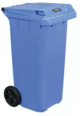 Blue Store and Move Recycling Waste Mobile Trash Plastic Container w/ Lid 32 Gal