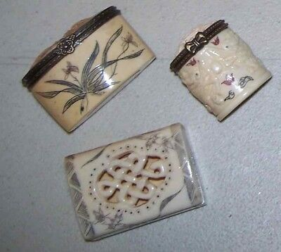 Lot 3 Vtg Chinese/Japanese/Asian carved etched miniature hinged pill snuff box