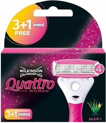 Wilkinson Sword Quattro For Women Papaya & Peal Razor Blades 4,8,12 Or 16 Blades