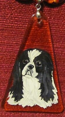Japanese Chin hand painted on hand crafted pendant/bead/necklace