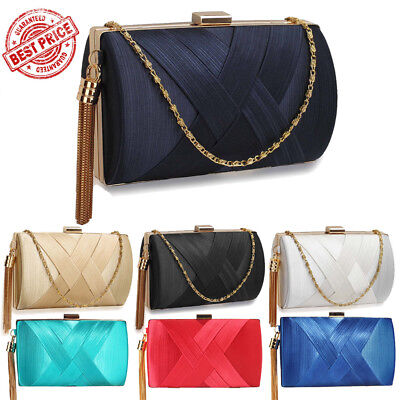 Womens Tassel Clutch Bags Ladies Satin Evening Prom Party Wedding Purse UK New
