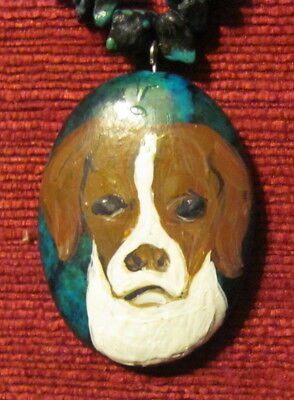 Brittany hand painted on oval Turquoise pendant/bead/necklace