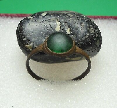 Ancient Roman Bronze Ring with a Green Stone Original Authentic Antique R100