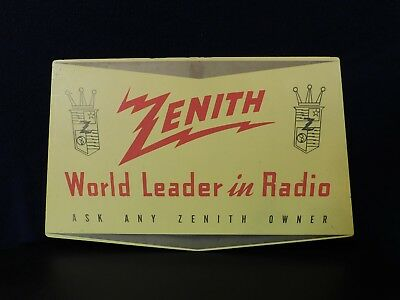 Vintage 2 Sided Zenith Radio Television Old Antique Color Advertising Sign  !!
