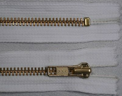 "7"" 18cm white YKK No.5 heavy duty gold metal CLOSED END ended auto lock zips"