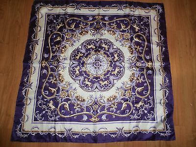 Vtg Hand Rolled Purple Golden & White Horse Theme Made in Japan Scarf