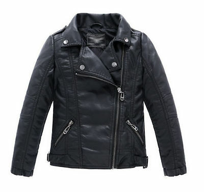 Children Girls Coats Jackets Boys Leather Casual Turn-down Collar Jacket hot