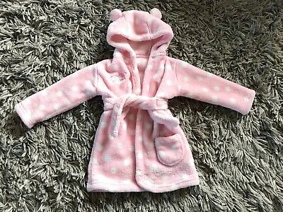 Baby Girl Pink Fluffy Dressing Gown - Age 6-12 Months