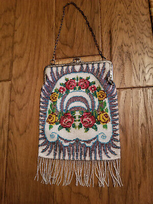 Vintage Beaded Purse with beaded fringe - flapper style