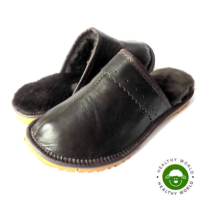 Luxury Women Leather Slippers Genuine SHEEPSKIN & CALFSKIN BROWN Flat Hard Sole