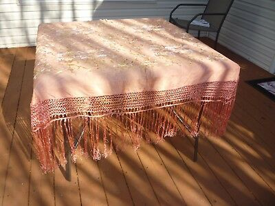 Vintage Antique Salmon / Peach Silk Color Floral Embroidered Piano Shawl