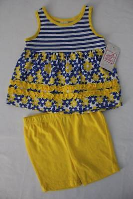 Baby Girls 2 Piece Set Size 0-3 Months Tank Top Shirt Blue Flowers Shorts Outfit