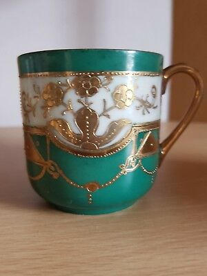 Cute Little Vintage Handpainted Cup From Japan Green White & Gold Japanese
