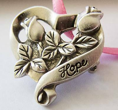 Longaberger Hope Pewter Tie-On / PIN - Heart & Roses with Pink - NEW - Pretty!