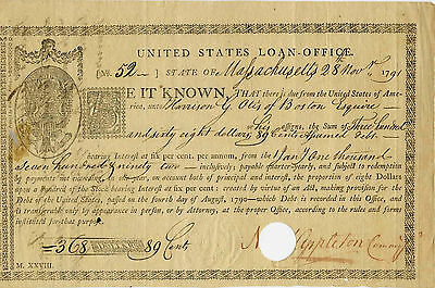 UNITED STATES GOVERNMENT LOAN OFFICE 1793 Signed by Nathaniel Appleton