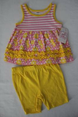 Baby Girls 2 Piece Set Size 6 - 9 Months Tank Top Shirt Flowers Shorts Outfit