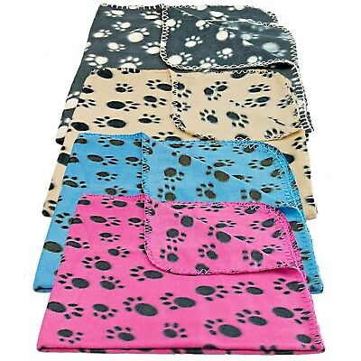 New Soft And Cosy Fleece Pet Blanket Paw Print Design Dogs Cats Comfy Warm