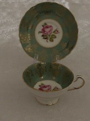 Paragon Green Gold Cup and Saucer Pink Roses