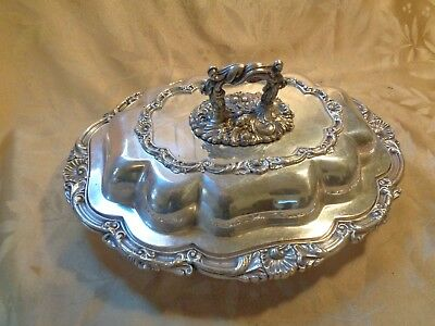 Antique Wallace Silver Plated Lidded Serving Platter with Romovable Lid Handle