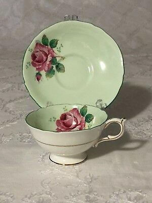 Double Warrant Paragon Green Cup and Saucer Pink Cabbage Rose