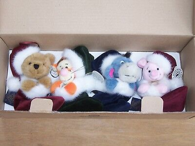 Boyds Bears Winnie the POOH PLUSH ORNAMENT SET Tigger Eeyore Piglet DISNEY MINT