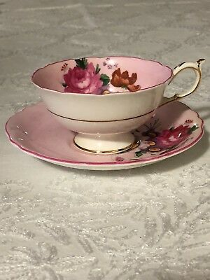 Double Warrant Paragon Pink Cup and Saucer Rose and Flowers