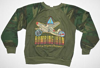VINTAGE! Boy's USA Made Bombing Iron Airplane Camo Sweatshirt Sz 12-14 Medium