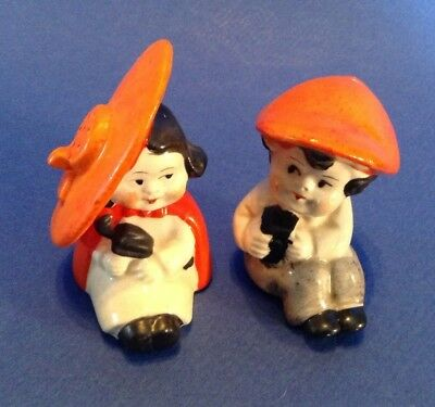 Salt And Pepper Shakers - Hand Painted Boy And Girl With Orange Hats - Japan