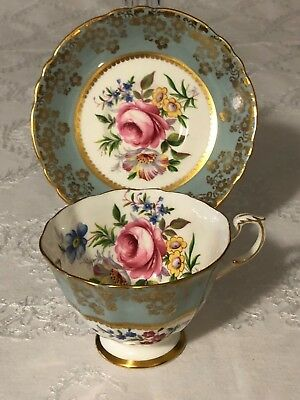 Paragon Blue Gold Cup and Saucer Large Rose and Flowers