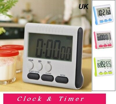 Magnetic Large LCD Digital Kitchen Timer Alarm Count Up Down Clock 24 Hours Shop