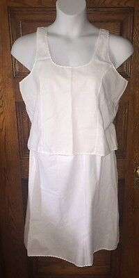 Sweet Vintage SEARS White Scalloped Cotton Camisole Cami Top & Matching Slip, XL