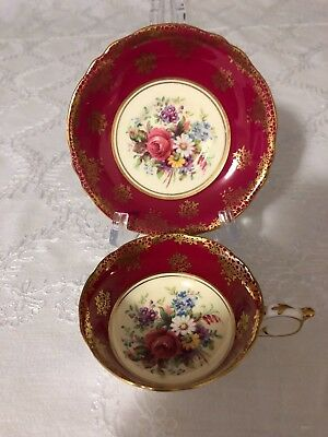 Paragon Double Warrant Garnet Red Cup and Saucer Rose and Flowers