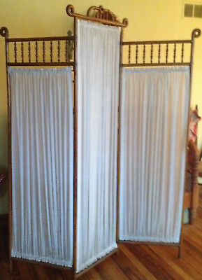 Antique Victorian Oak Folding Privacy Changing Dressing Screen~Room Divider