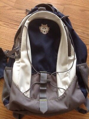 Lands End Kids Backpack - Blue With Embroidered Wolf