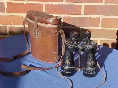 Ww2 British Army Royal Navy Military Ross London Binoculars In Leather Case 1942