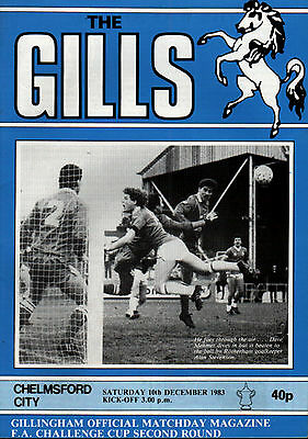 1983/84 Gillingham v Chelmsford City, FA Cup, PERFECT CONDITION