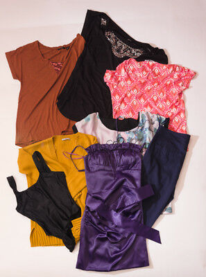Mixed Bundle 7 Clothing Top Jumper Dress Crop Trousers Sizes 6 To 12
