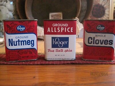 Lot 3 Vintage Kitchen Spice Tins. Kroger's Advertising Cooking Collectibles